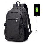 Men Durable Solid Color Canvas Backpack with USB Port - BLACK