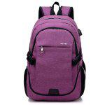 Men Durable Solid Color Canvas Backpack with USB Port - PURPLE