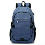 Men Durable Solid Color Canvas Backpack with USB Port - DEEP BLUE