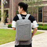 Men Simple Solid Color Canvas Laptop Backpack - LIGHT GRAY