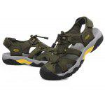 N - DENG Outdoor Genuine Leather Sandals for Men - KHAKI + ARMY GREEN