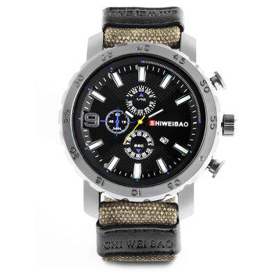 SHI WEI BAO J1160 Quartz Men Watch Canvas BandMens Watches<br>SHI WEI BAO J1160 Quartz Men Watch Canvas Band<br><br>Band material: Canvas<br>Band size: 26.31 x 2.3 cm<br>Brand: Shiweibao<br>Case material: Zinc Alloy<br>Clasp type: Pin buckle<br>Dial size: 5.1 x 5.1 x 1.29 cm<br>Display type: Analog<br>Movement type: Quartz watch<br>Package Contents: 1 x Watch, 1 x Box<br>Package size (L x W x H): 10.00 x 8.00 x 7.00 cm / 3.94 x 3.15 x 2.76 inches<br>Package weight: 0.1500 kg<br>Product size (L x W x H): 26.31 x 5.10 x 1.29 cm / 10.36 x 2.01 x 0.51 inches<br>Product weight: 0.0800 kg<br>Shape of the dial: Round<br>Special features: Compass, Luminous<br>Watch mirror: Acrylic<br>Watch style: Military<br>Watches categories: Men<br>Wearable length: 19 - 23 cm