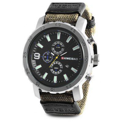 SHI WEI BAO J1160 Quartz Men Watch Canvas Band