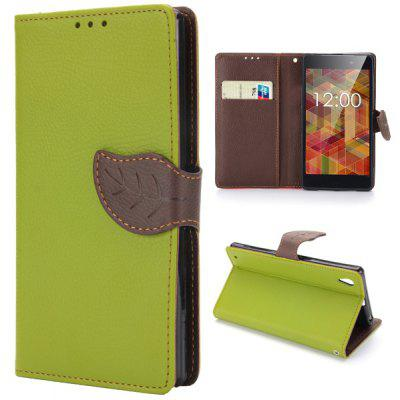 Leaf Magnetic Buckle Lichee Pattern Phone Cover PU Case Skin with Stand Function for Sony L39h Xperia Z1