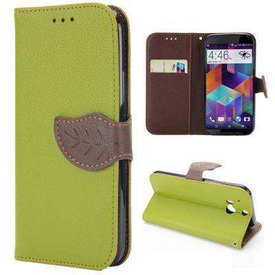Leaf Magnetic Buckle Lichee Pattern Phone Cover PU Case Skin with Stand Function for HTC One 2 M8