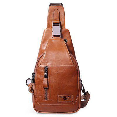Buy YELLOW Men Retro Solid Color Genuine Leather Shoulder Bag for $43.40 in GearBest store