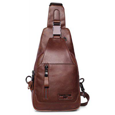 Buy BROWN Men Retro Solid Color Genuine Leather Shoulder Bag for $43.40 in GearBest store
