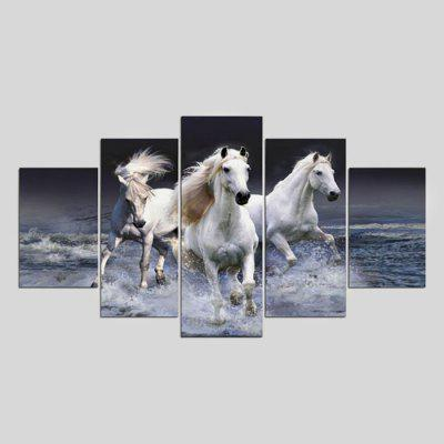 Buy COLORMIX 5PCS YSDAFEN White Horses Printed Painting Canvas Print for $55.37 in GearBest store