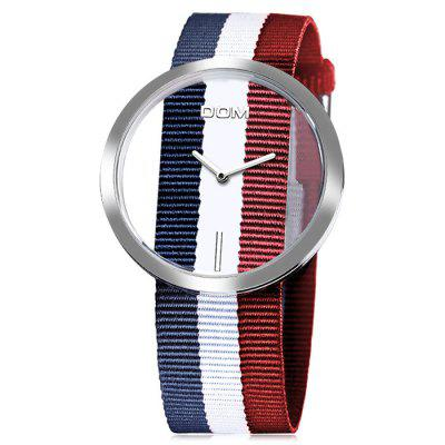 Dom 205 Simple Female Quartz Watch with Nylon BandWomens Watches<br>Dom 205 Simple Female Quartz Watch with Nylon Band<br><br>Band material: Nylon<br>Band size: 19 x 2.2<br>Case material: Alloy<br>Clasp type: Buckle<br>Dial size: 4.2 x 4.2 x 0.9cm<br>Display type: Analog<br>Movement type: Quartz watch<br>Package Contents: 1 x Watch, 1 x Box<br>Package size (L x W x H): 28.00 x 8.00 x 3.50 cm / 11.02 x 3.15 x 1.38 inches<br>Package weight: 0.0700 kg<br>Product size (L x W x H): 19.00 x 4.20 x 0.90 cm / 7.48 x 1.65 x 0.35 inches<br>Product weight: 0.0400 kg<br>Shape of the dial: Round<br>Watch mirror: Mineral glass<br>Watch style: Casual<br>Watches categories: Women<br>Water resistance: 30 meters