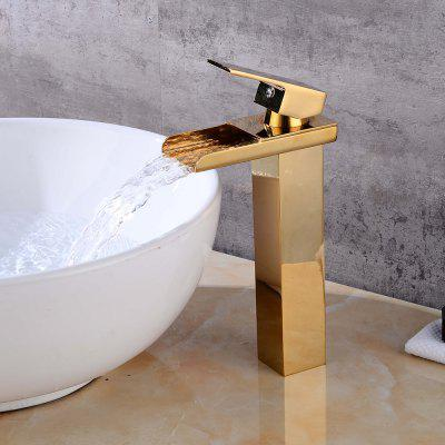Buy GOLDEN LING HAO HL 107 Single Handle Waterfall Spout Brass Faucet for $82.88 in GearBest store
