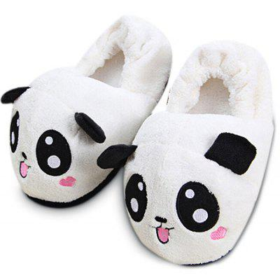 Panda Cartoon Style Covering Heel Plush Home Slippers