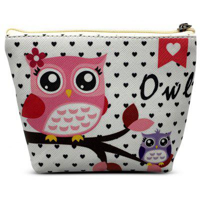 PU Coin Purse Wallet with Cute Owl Pattern Money Bag Case