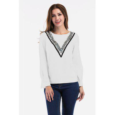 Round Collar Fringe Strap Stitched Hoody for Women