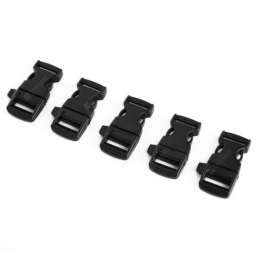 BLACK 5PCS Outdoor Adventure Survival Plastic Belt Buckle Whistle