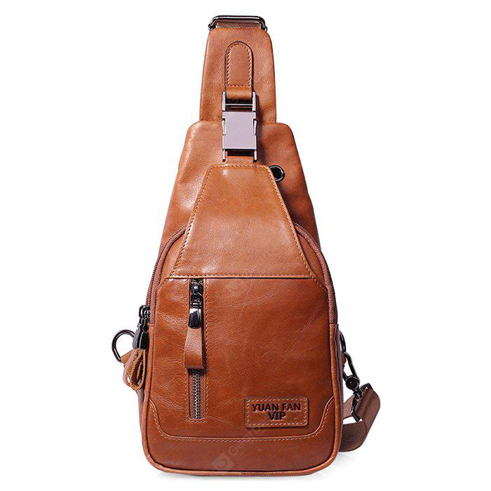 YUANFANVIP Men Fashion Solid Color Genuine Leather Shoulder Bag