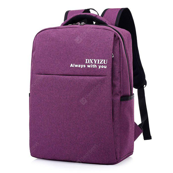 PURPLE Men Solid Color Canvas Laptop Backpack