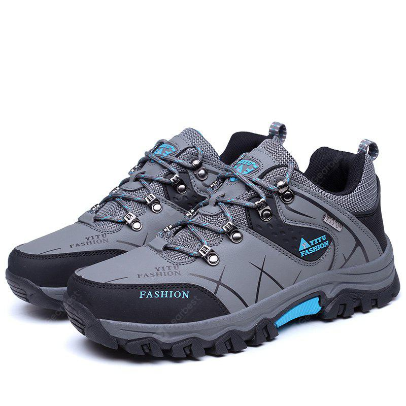 GRAY 42 Plus Size Low Top Lace-up Hiking Shoes for Men