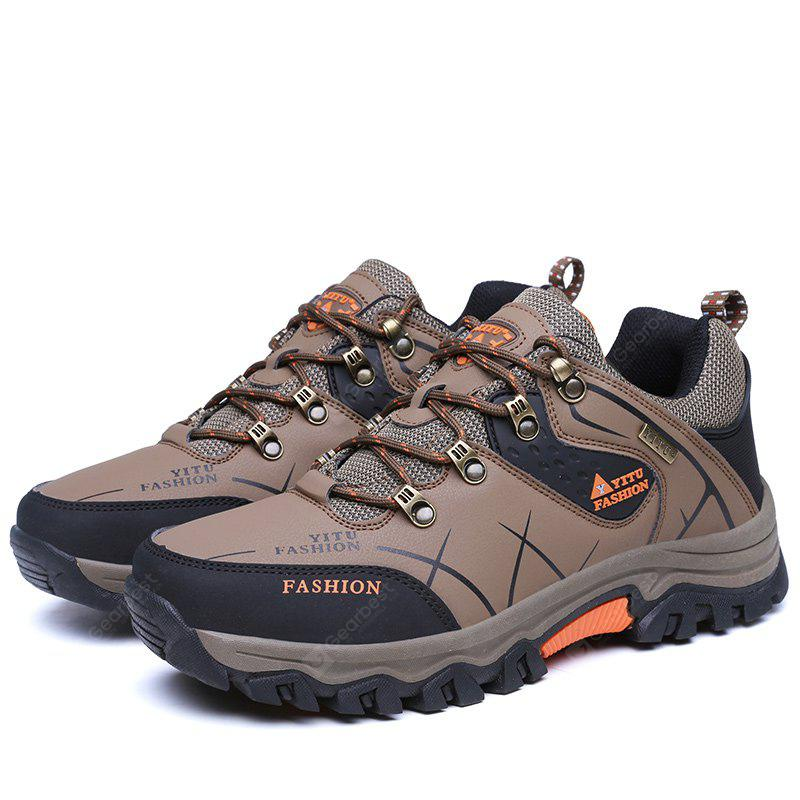 BROWN 46 Plus Size Low Top Lace-up Hiking Shoes for Men