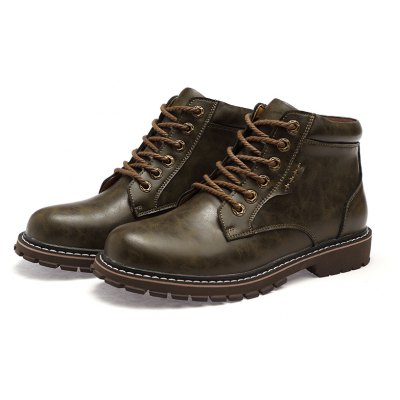 Ankle-high Lace-up Leather Boots for Men