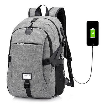 Buy GRAY Men Leisure Anti-theft Canvas Backpack with USB Port for $26.72 in GearBest store