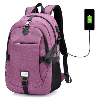 Buy PURPLE Men Leisure Anti-theft Canvas Backpack with USB Port for $26.72 in GearBest store
