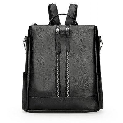 FEIDIKAPOLO Men Solid Color PU Backpack