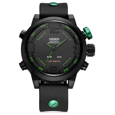 OHSEN AD2820 Sports Silicone Strap Men Watch