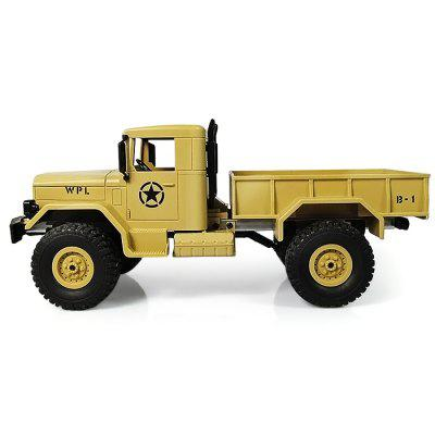 WPL B - 1 1:16 Mini Off-road RC Military Truck - RTRRC Cars<br>WPL B - 1 1:16 Mini Off-road RC Military Truck - RTR<br><br>Battery Information: 6V 700mAh NiCd<br>Car Power: Built-in rechargeable battery<br>Channel: 2-Channels<br>Charging Time: 120 Minutes<br>Control Distance: 30-80m<br>Detailed Control Distance: About 50m<br>Drive Type: 4 WD<br>Features: Radio Control<br>Material: ABS, Metal, Electronic Components<br>Motor Type: Brushed Motor<br>Package Contents: 1 x Truck ( Battery Included ), 1 x Transmitter, 1 x C Shape Suspension Beam, 1 x Charging Cable<br>Package size (L x W x H): 46.00 x 21.00 x 16.00 cm / 18.11 x 8.27 x 6.3 inches<br>Package weight: 1.3000 kg<br>Product size (L x W x H): 35.00 x 14.00 x 15.00 cm / 13.78 x 5.51 x 5.91 inches<br>Product weight: 0.7550 kg<br>Proportion: 1:16<br>Racing Time: 20mins<br>Remote Control: 2.4GHz Wireless Remote Control<br>Speed: 10km/h<br>Transmitter Power: 2 x 1.5V AA battery (not included)<br>Type: Off-Road Car