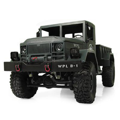 WPL B - 1 1:16 Mini Off-road RC Military Truck - RTRRC Cars<br>WPL B - 1 1:16 Mini Off-road RC Military Truck - RTR<br><br>Battery Information: 4.8V 500mAh NiCd<br>Car Power: Built-in rechargeable battery<br>Channel: 2-Channels<br>Charging Time: 120 Minutes<br>Control Distance: 30-80m<br>Detailed Control Distance: About 50m<br>Drive Type: 4 WD<br>Features: Radio Control<br>Material: ABS, Metal, Electronic Components<br>Motor Type: Brushed Motor<br>Package Contents: 1 x Truck ( Battery Included ), 1 x Transmitter, 1 x C Shape Suspension Beam, 1 x Charging Cable<br>Package size (L x W x H): 53.00 x 25.00 x 16.00 cm / 20.87 x 9.84 x 6.3 inches<br>Package weight: 1.2750 kg<br>Product size (L x W x H): 35.00 x 14.00 x 15.00 cm / 13.78 x 5.51 x 5.91 inches<br>Product weight: 0.6100 kg<br>Proportion: 1:16<br>Racing Time: 20mins<br>Remote Control: 2.4GHz Wireless Remote Control<br>Speed: 10km/h<br>Transmitter Power: 2 x 1.5V AA battery (not included)<br>Type: Off-Road Car
