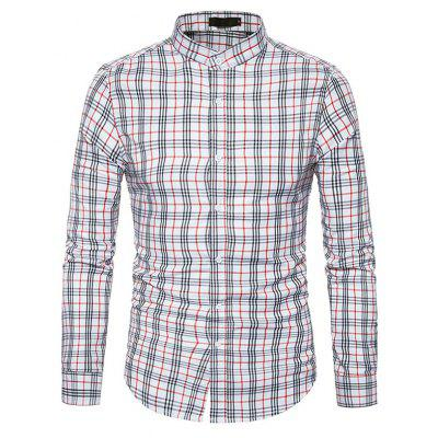 Buy WHITE L Male Trendy Stand Collar Long Sleeves Plaid Shirt for $17.41 in GearBest store
