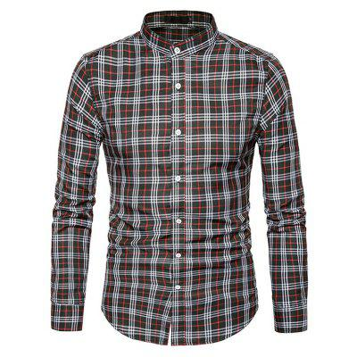Buy BLACK 2XL Male Trendy Stand Collar Long Sleeves Plaid Shirt for $17.41 in GearBest store