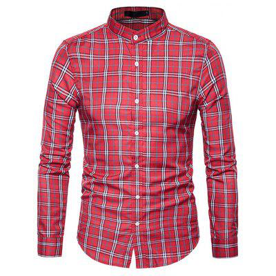 Buy RED XL Male Trendy Stand Collar Long Sleeves Plaid Shirt for $17.41 in GearBest store
