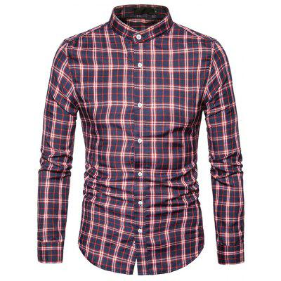 Buy CADETBLUE L Male Trendy Stand Collar Long Sleeves Plaid Shirt for $17.41 in GearBest store