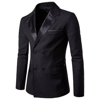 Men Double-breasted Front Pockets Notch Lapel Blazer