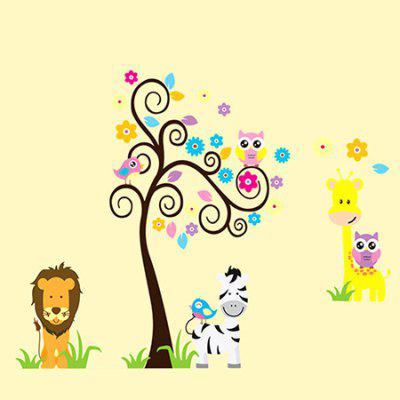 LAIMA QT0165 Cartoon Animal Wall Sticker Paper
