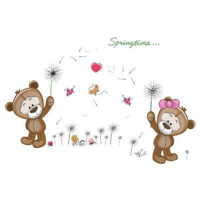 LAIMA QT0182 Cartoon Bear Dandelion Wall Sticker