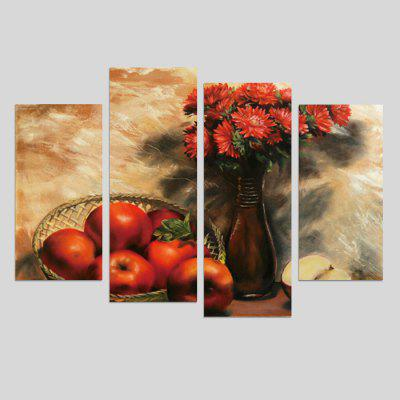 4PCS Red Apples Printed Painting Canvas Print