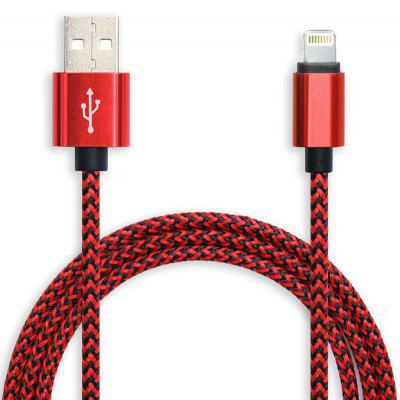 95cm Nylon Woven Cord Aluminum Alloy Interface Data Sync and Charging Cable for iPhone