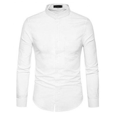 Male Fashionable Stand Collar Solid Color Shirt