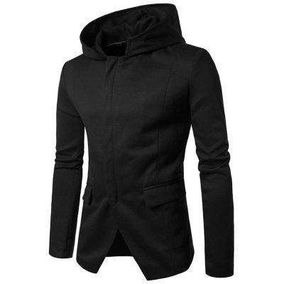 Men Hooded Long Sleeves Casual Zipper Blazer