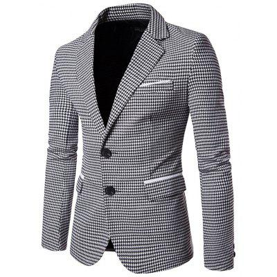 Men Checkered Regular Notch Lapel Two-button Blazer