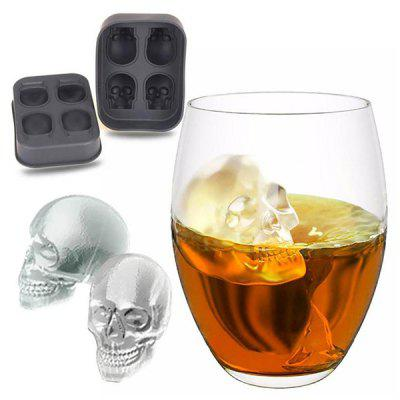 1PC Creative Skull Silicone 4 - grid Ice Cube Mold