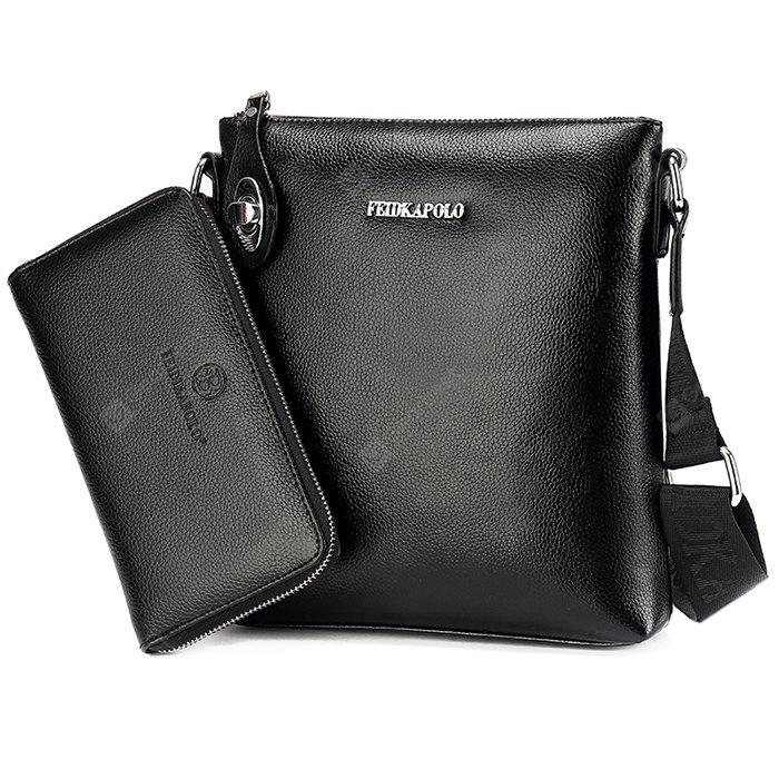 FEIDIKABOLO Men Solid Color Shoulder Bag Handbag Set