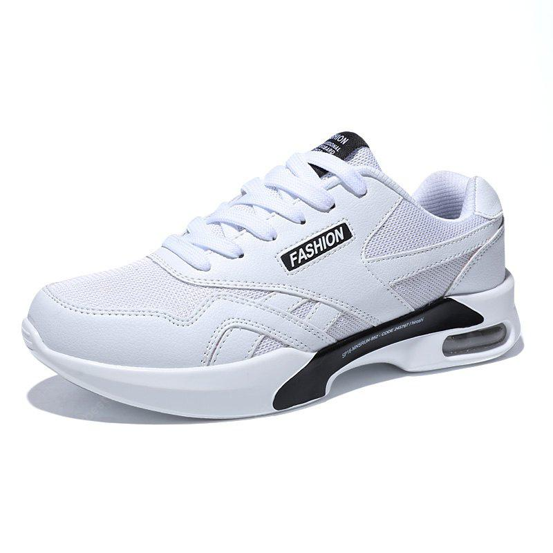 WHITE 40 Breathable Mesh Air-cushion Athletic Shoes for Men