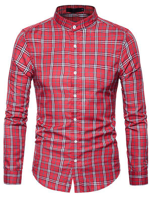 RED S Male Trendy Stand Collar Long Sleeves Plaid Shirt