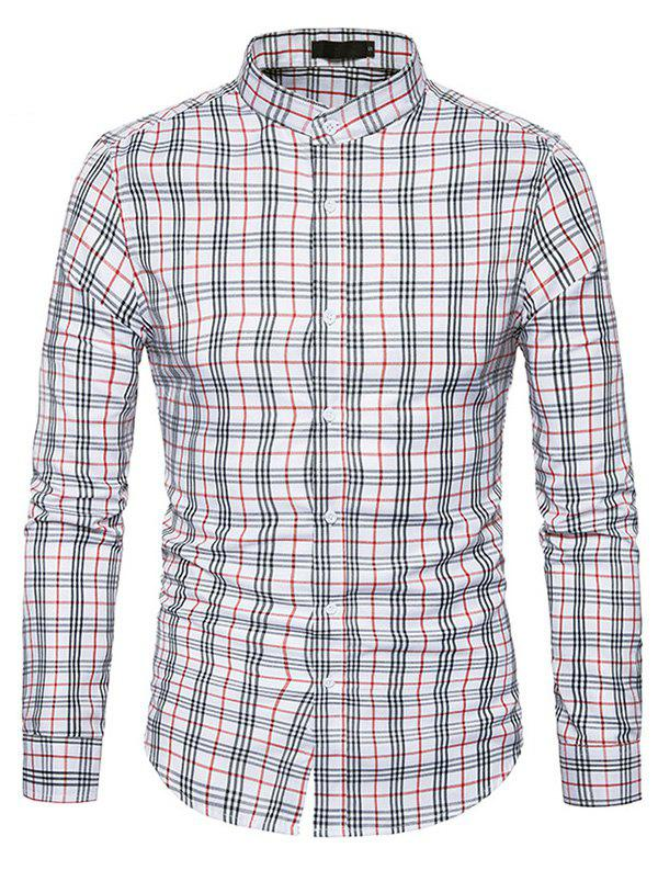 Male Trendy Stand Collar Long Sleeves Plaid Shirt