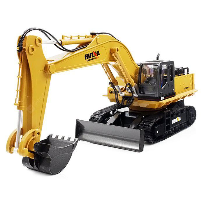HUINA TOYS 1510 1:16 2.4GHz 11CH RC Alloy Excavator - RTR - Deep yellow
