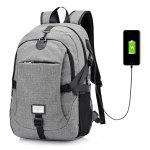 Men Leisure Anti-theft Canvas Backpack with USB Port - GRAY