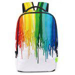Leisure 3D Ink Graffiti Colorful Waterproof Backpack - WHITE