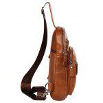 YUANFANVIP Genuine Leather Outdoor Casual Handbag for Men - FLAX BROWN